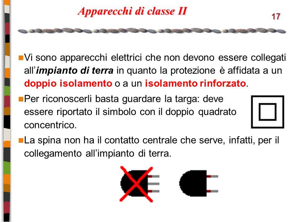 17 Apparecchi di classe II Vi sono apparecchi elettrici che non devono essere collegati allimpianto di terra in quanto la protezione è affidata a un doppio isolamento o a un isolamento rinforzato.