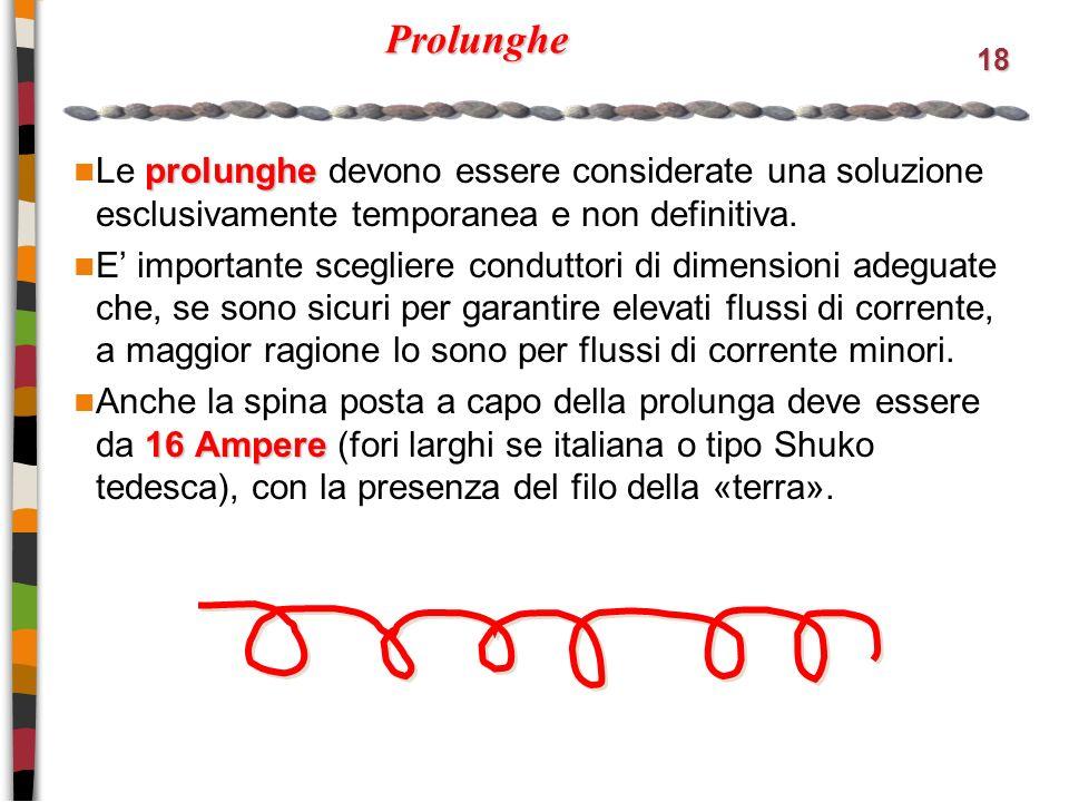 18 Prolunghe prolunghe Le prolunghe devono essere considerate una soluzione esclusivamente temporanea e non definitiva.