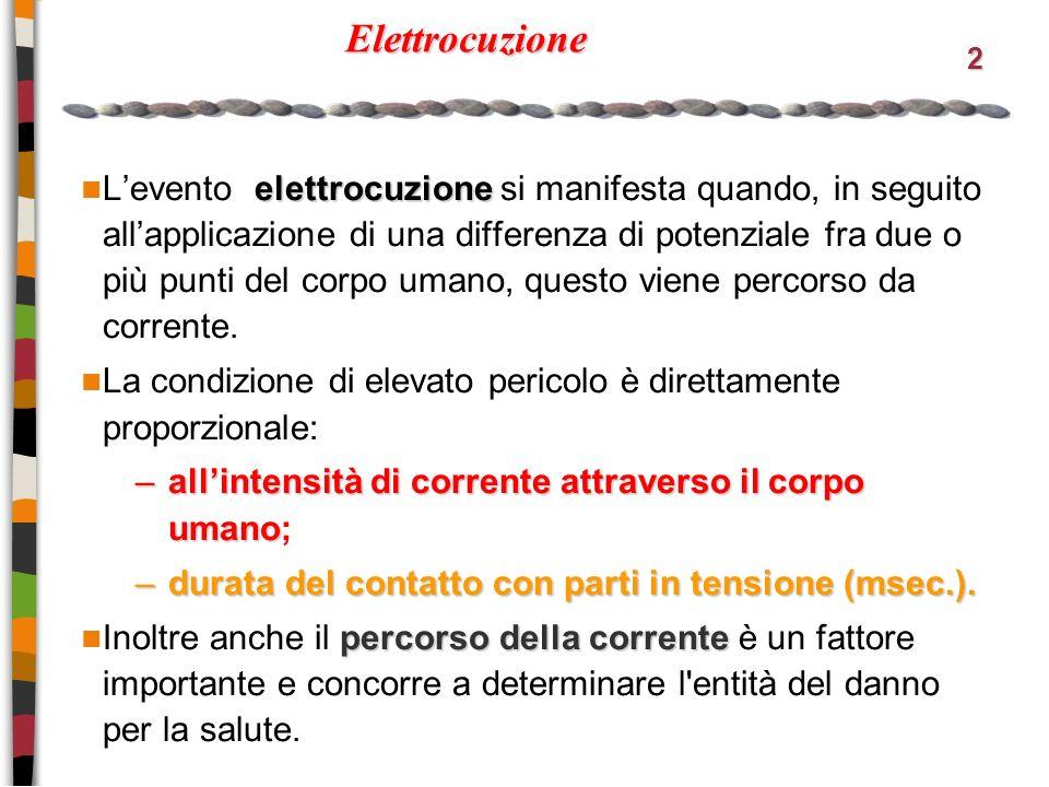 2 Elettrocuzione elettrocuzione Levento elettrocuzione si manifesta quando, in seguito allapplicazione di una differenza di potenziale fra due o più punti del corpo umano, questo viene percorso da corrente.