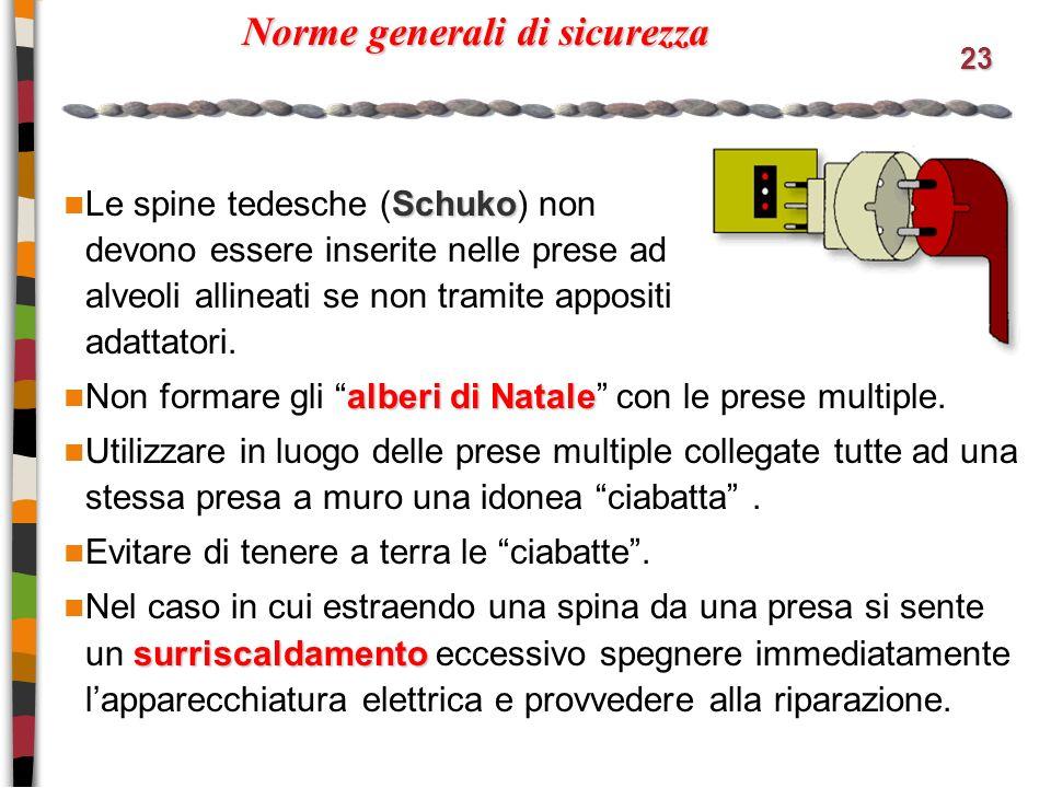 23 Norme generali di sicurezza Schuko Le spine tedesche (Schuko) non devono essere inserite nelle prese ad alveoli allineati se non tramite appositi adattatori.