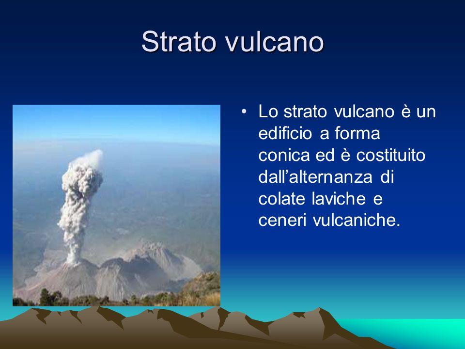 Strato vulcano Lo strato vulcano è un edificio a forma conica ed è costituito dallalternanza di colate laviche e ceneri vulcaniche.