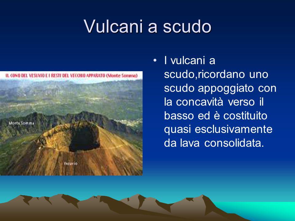 Vulcani a scudo I vulcani a scudo,ricordano uno scudo appoggiato con la concavità verso il basso ed è costituito quasi esclusivamente da lava consolidata.