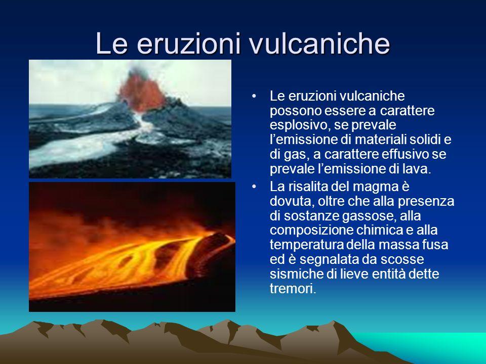Le eruzioni vulcaniche Le eruzioni vulcaniche possono essere a carattere esplosivo, se prevale lemissione di materiali solidi e di gas, a carattere effusivo se prevale lemissione di lava.