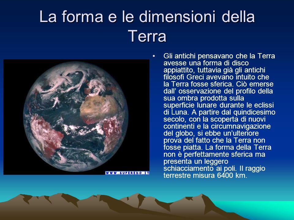 La forma e le dimensioni della Terra Gli antichi pensavano che la Terra avesse una forma di disco appiattito, tuttavia già gli antichi filosofi Greci avevano intuito che la Terra fosse sferica.