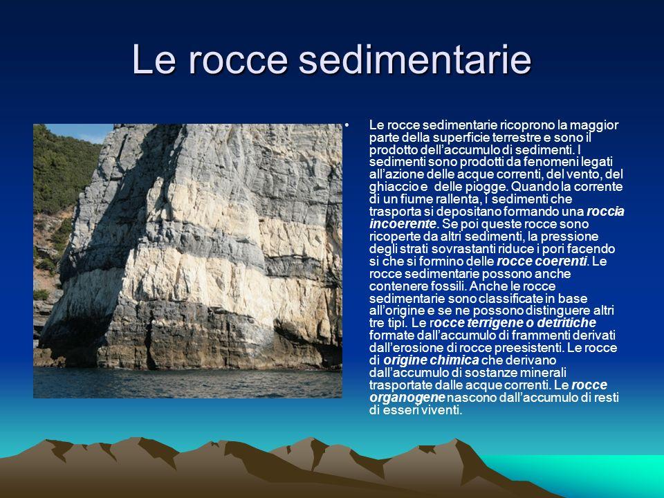 Le rocce sedimentarie Le rocce sedimentarie ricoprono la maggior parte della superficie terrestre e sono il prodotto dellaccumulo di sedimenti.