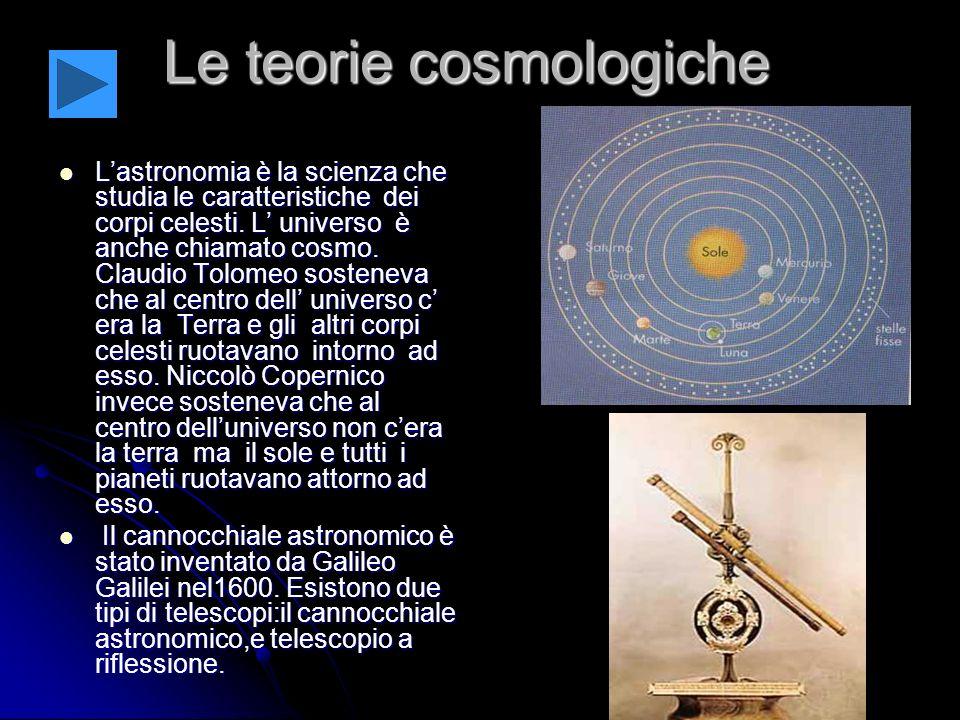 Le teorie cosmologiche Lastronomia è la scienza che studia le caratteristiche dei corpi celesti.