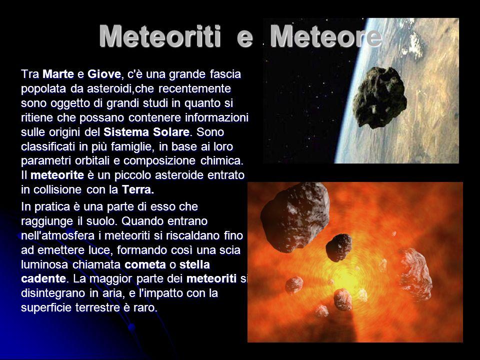 Tra Marte e Giove, c è una grande fascia popolata da asteroidi,che recentemente sono oggetto di grandi studi in quanto si ritiene che possano contenere informazioni sulle origini del Sistema Solare.