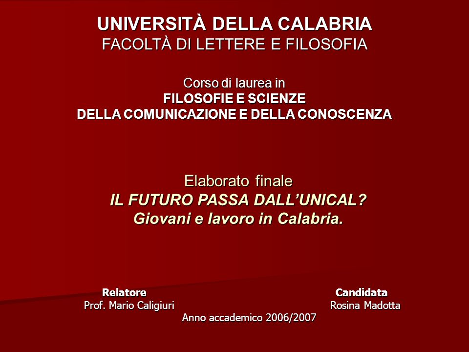 Relatore Candidata Prof. Mario Caligiuri Rosina Madotta Anno accademico 2006/2007 Relatore Candidata Prof. Mario Caligiuri Rosina Madotta Anno accadem