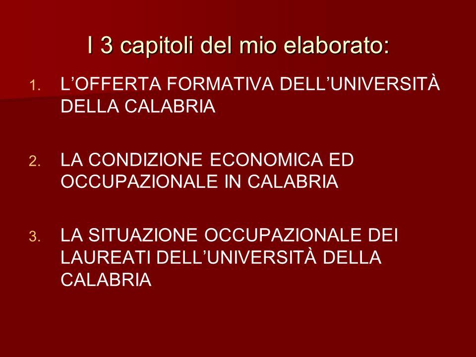 I 3 capitoli del mio elaborato: 1. 1. LOFFERTA FORMATIVA DELLUNIVERSITÀ DELLA CALABRIA 2. 2. LA CONDIZIONE ECONOMICA ED OCCUPAZIONALE IN CALABRIA 3. 3