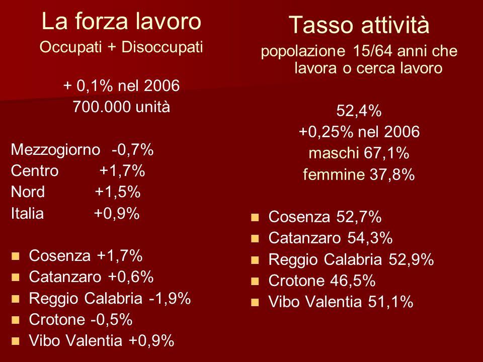 45,6% (615.000 unità) nel 2006 Loccupazione Tasso occupazione: rapporto percentuale tra occupati e popolazione residente 45,6% (615.000 unità) +1,8% nel 2006 Variazioni Cosenza +3,4% Cosenza +3,4% Catanzaro +2,3% Catanzaro +2,3% Reggio Calabria 0 Reggio Calabria 0 Crotone +1% Crotone +1% Vibo Valentia +1% Vibo Valentia +1% Abbruzzo +1,2% Abbruzzo +1,2% Molise +2,5% Molise +2,5% Campania +0,2% Campania +0,2% Puglia +2,8% Puglia +2,8% Basilicata +2,3% Basilicata +2,3% Sicilia +2,2% Sicilia +2,2% Sardegna +1,8% Sardegna +1,8%