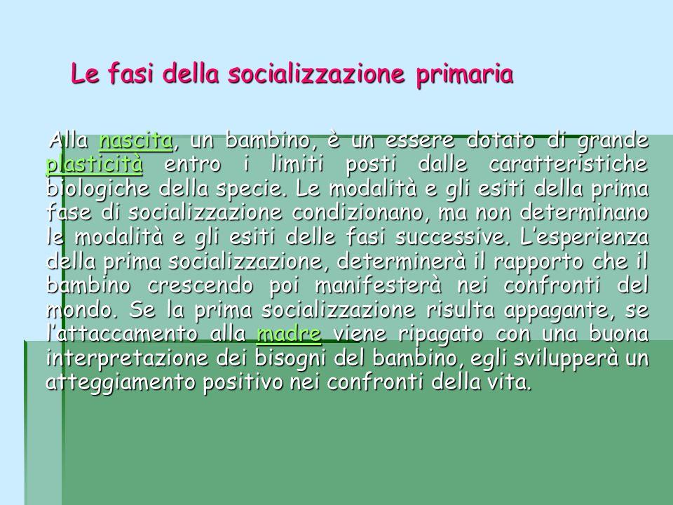 Le fasi della socializzazione primaria Le fasi della socializzazione primaria Alla nascita, un bambino, è un essere dotato di grande plasticità entro