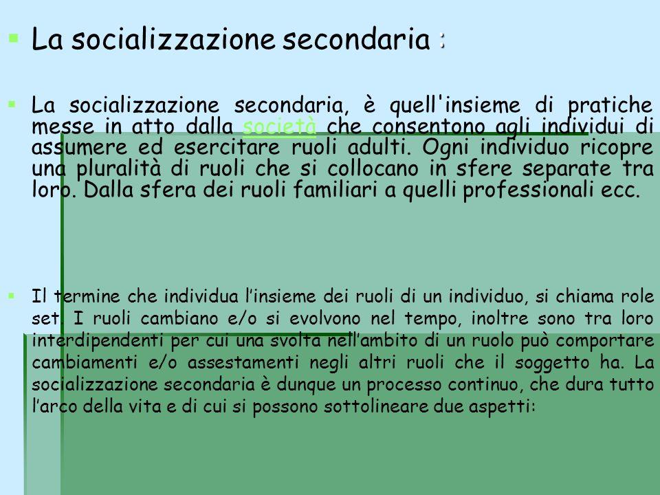: La socializzazione secondaria : La socializzazione secondaria, è quell'insieme di pratiche messe in atto dalla società che consentono agli individui