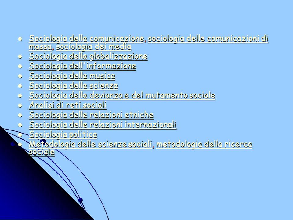 Sociologia della comunicazione, sociologia delle comunicazioni di massa, sociologia dei media Sociologia della comunicazione, sociologia delle comunicazioni di massa, sociologia dei media Sociologia della comunicazionesociologia delle comunicazioni di massasociologia dei media Sociologia della comunicazionesociologia delle comunicazioni di massasociologia dei media Sociologia della globalizzazione Sociologia della globalizzazione Sociologia della globalizzazione Sociologia della globalizzazione Sociologia dell informazione Sociologia dell informazione Sociologia dell informazione Sociologia dell informazione Sociologia della musica Sociologia della musica Sociologia della musica Sociologia della musica Sociologia della scienza Sociologia della scienza Sociologia della scienza Sociologia della scienza Sociologia della devianza e del mutamento sociale Sociologia della devianza e del mutamento sociale Sociologia della devianza e del mutamento sociale Sociologia della devianza e del mutamento sociale Analisi di reti sociali Analisi di reti sociali Analisi di reti sociali Analisi di reti sociali Sociologia delle relazioni etniche Sociologia delle relazioni etniche Sociologia delle relazioni etniche Sociologia delle relazioni etniche Sociologia delle relazioni internazionali Sociologia delle relazioni internazionali Sociologia delle relazioni internazionali Sociologia delle relazioni internazionali Sociologia politica Sociologia politica Sociologia politica Sociologia politica Metodologia delle scienze sociali, metodologia della ricerca sociale Metodologia delle scienze sociali, metodologia della ricerca sociale Metodologia delle scienze socialimetodologia della ricerca sociale Metodologia delle scienze socialimetodologia della ricerca sociale