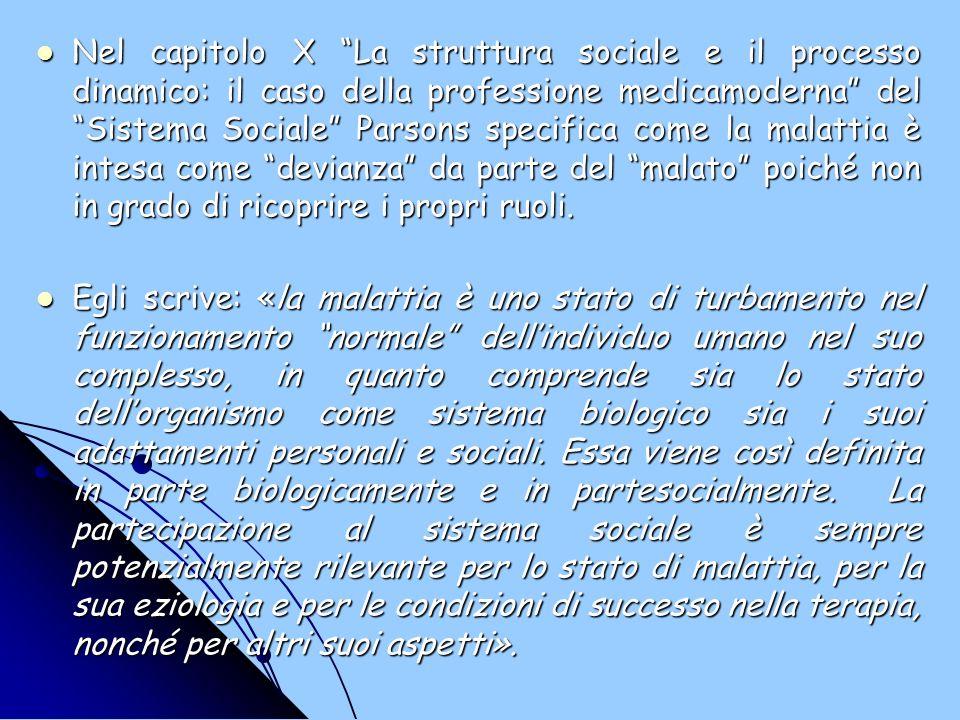 Nel capitolo X La struttura sociale e il processo dinamico: il caso della professione medicamoderna del Sistema Sociale Parsons specifica come la mala