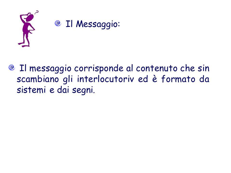 Il Messaggio: Il messaggio corrisponde al contenuto che sin scambiano gli interlocutoriv ed è formato da sistemi e dai segni.