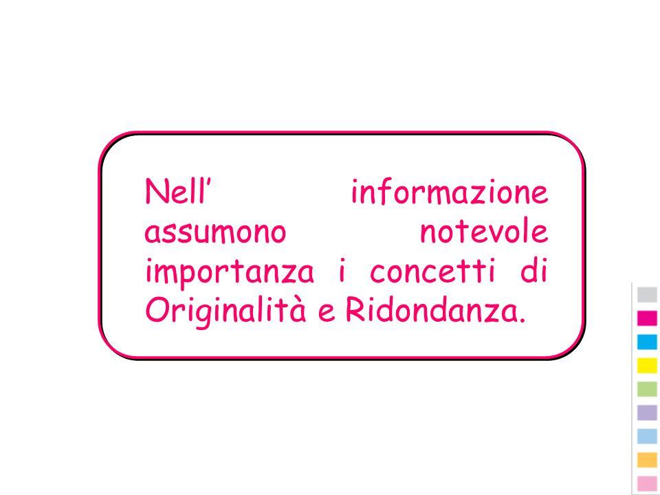 Nell informazione assumono notevole importanza i concetti di Originalità e Ridondanza.