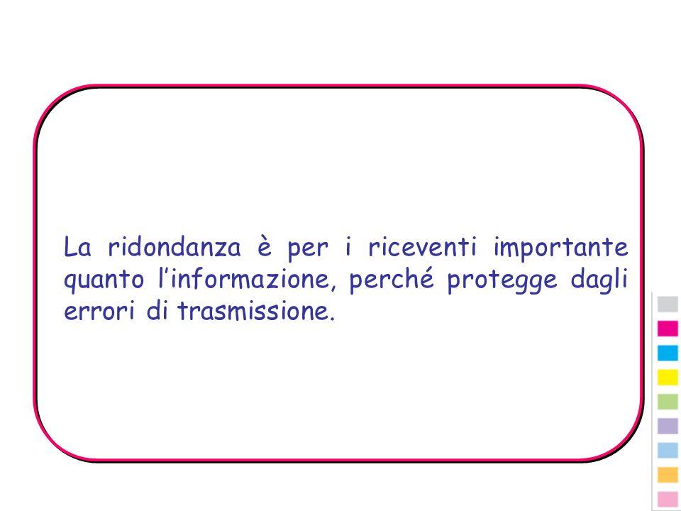 La ridondanza è per i riceventi importante quanto linformazione, perché protegge dagli errori di trasmissione.