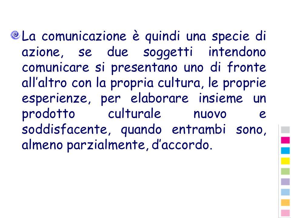 La comunicazione è quindi una specie di azione, se due soggetti intendono comunicare si presentano uno di fronte allaltro con la propria cultura, le p
