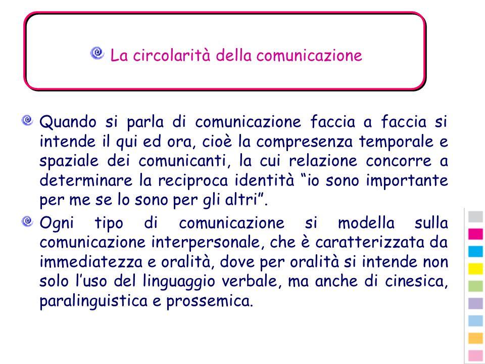 La circolarità della comunicazione Quando si parla di comunicazione faccia a faccia si intende il qui ed ora, cioè la compresenza temporale e spaziale