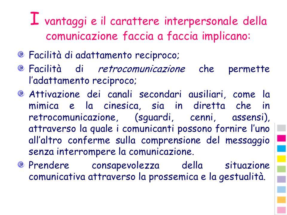 I vantaggi e il carattere interpersonale della comunicazione faccia a faccia implicano: Facilità di adattamento reciproco; Facilità di retrocomunicazi