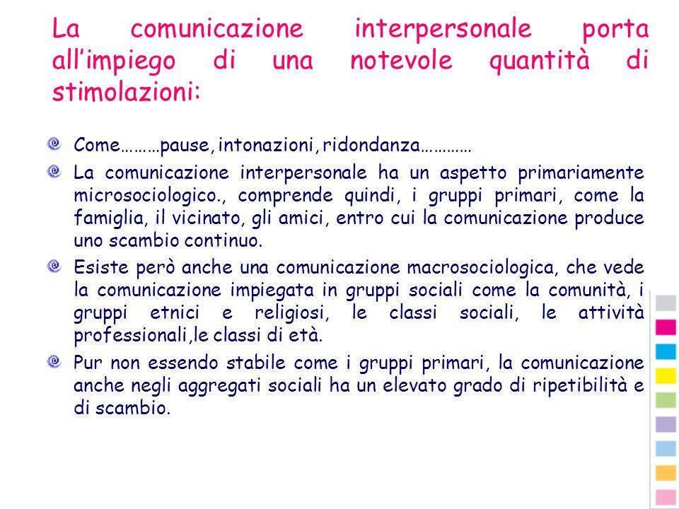 La comunicazione interpersonale porta allimpiego di una notevole quantità di stimolazioni: Come………pause, intonazioni, ridondanza………… La comunicazione