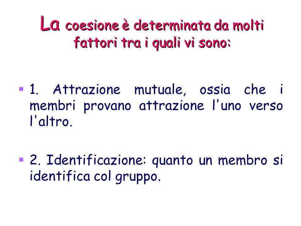 La coesione è determinata da molti fattori tra i quali vi sono: 1. Attrazione mutuale, ossia che i membri provano attrazione l'uno verso l'altro. 2. I