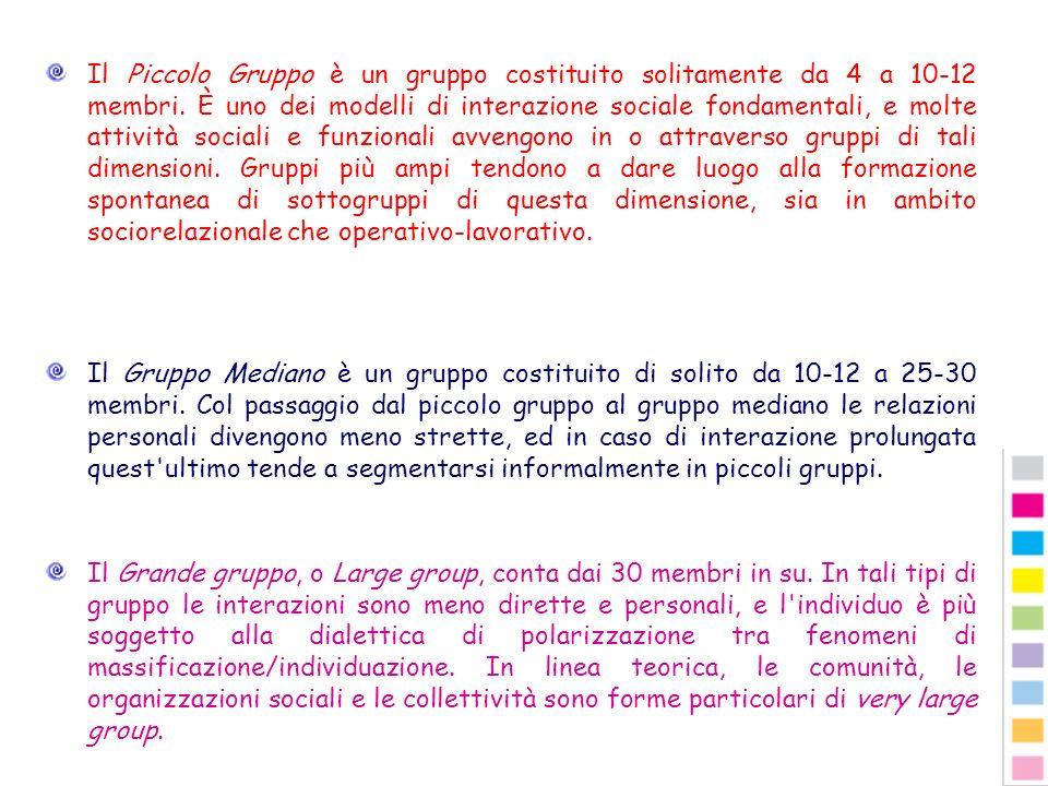 Il Piccolo Gruppo è un gruppo costituito solitamente da 4 a 10-12 membri. È uno dei modelli di interazione sociale fondamentali, e molte attività soci