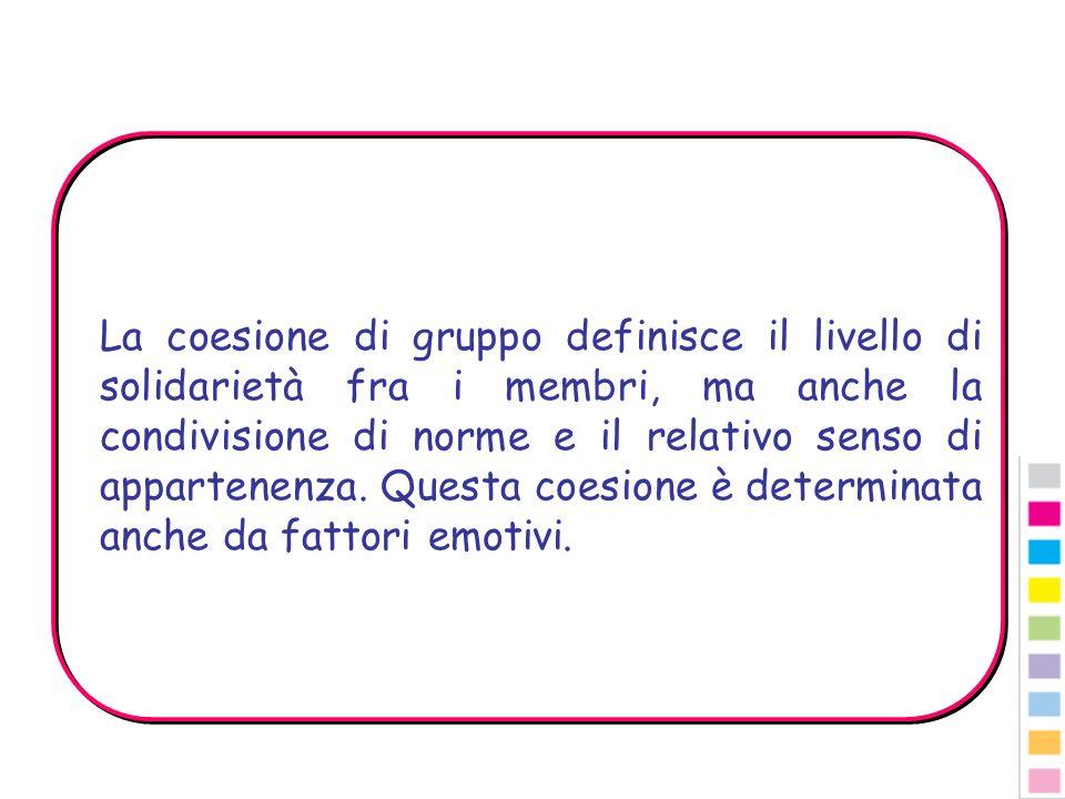 La coesione di gruppo definisce il livello di solidarietà fra i membri, ma anche la condivisione di norme e il relativo senso di appartenenza. Questa