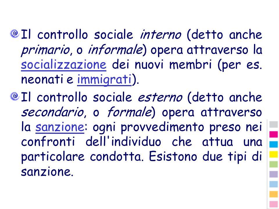 Il controllo sociale interno (detto anche primario, o informale) opera attraverso la socializzazione dei nuovi membri (per es. neonati e immigrati). s