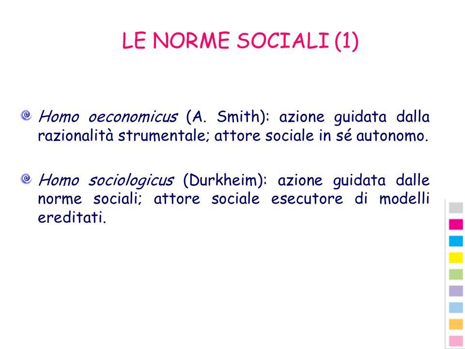 LE NORME SOCIALI (1) Homo oeconomicus (A. Smith): azione guidata dalla razionalità strumentale; attore sociale in sé autonomo. Homo sociologicus (Durk