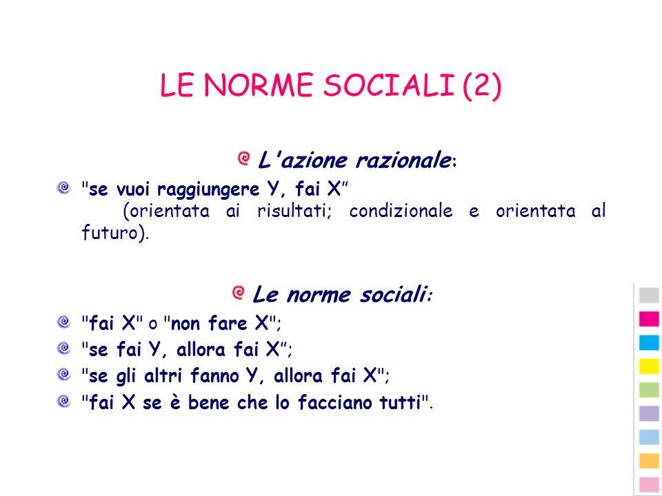 LE NORME SOCIALI (2) L'azione razionale :