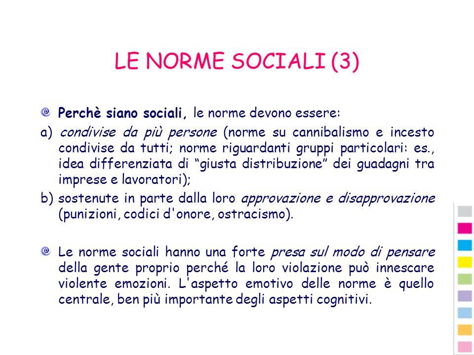 LE NORME SOCIALI (3) Perchè siano sociali, le norme devono essere: a) condivise da più persone (norme su cannibalismo e incesto condivise da tutti; no