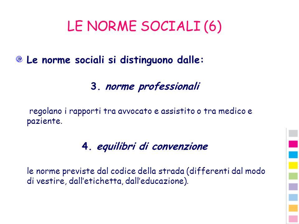 LE NORME SOCIALI (6) Le norme sociali si distinguono dalle: 3. norme professionali regolano i rapporti tra avvocato e assistito o tra medico e pazient