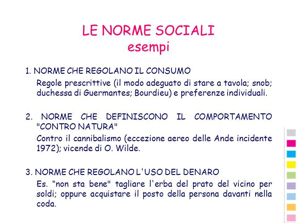 LE NORME SOCIALI esempi 1. NORME CHE REGOLANO IL CONSUMO Regole prescrittive (il modo adeguato di stare a tavola; snob; duchessa di Guermantes; Bourdi