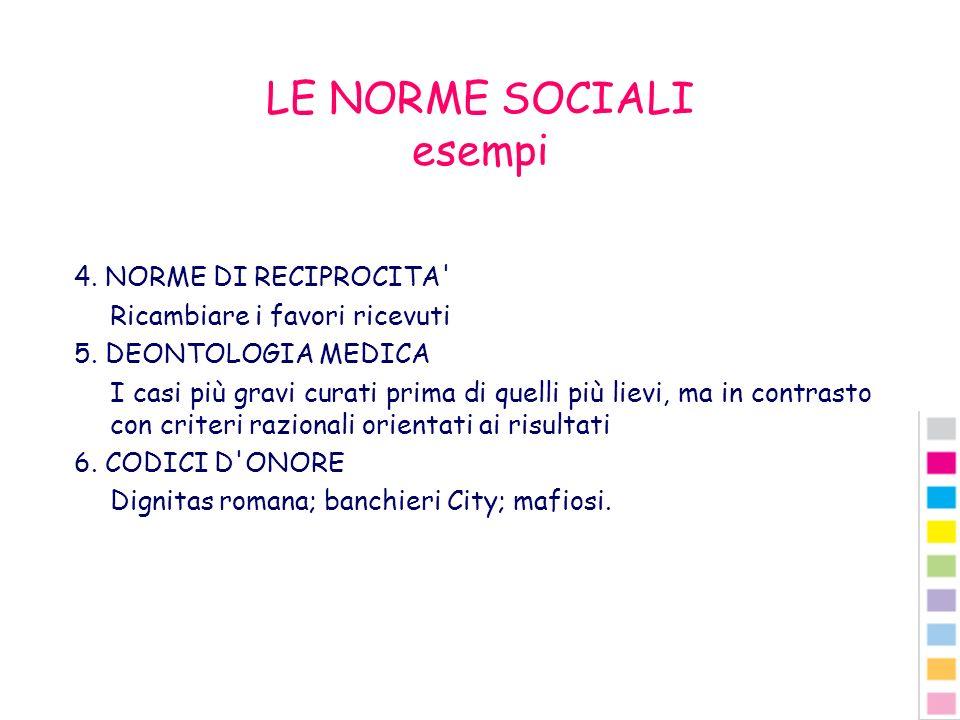 LE NORME SOCIALI esempi 4. NORME DI RECIPROCITA' Ricambiare i favori ricevuti 5. DEONTOLOGIA MEDICA I casi più gravi curati prima di quelli più lievi,