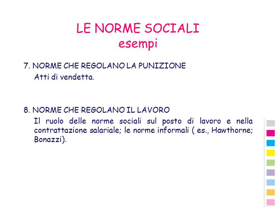 LE NORME SOCIALI esempi 7. NORME CHE REGOLANO LA PUNIZIONE Atti di vendetta. 8. NORME CHE REGOLANO IL LAVORO Il ruolo delle norme sociali sul posto di