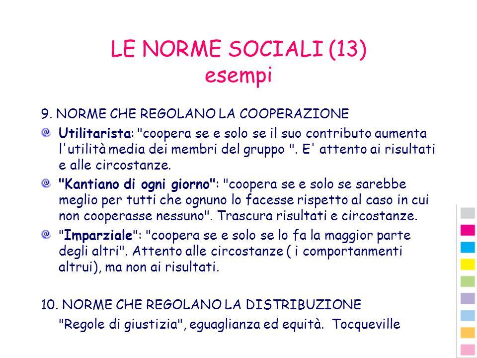 LE NORME SOCIALI (13) esempi 9. NORME CHE REGOLANO LA COOPERAZIONE Utilitarista: