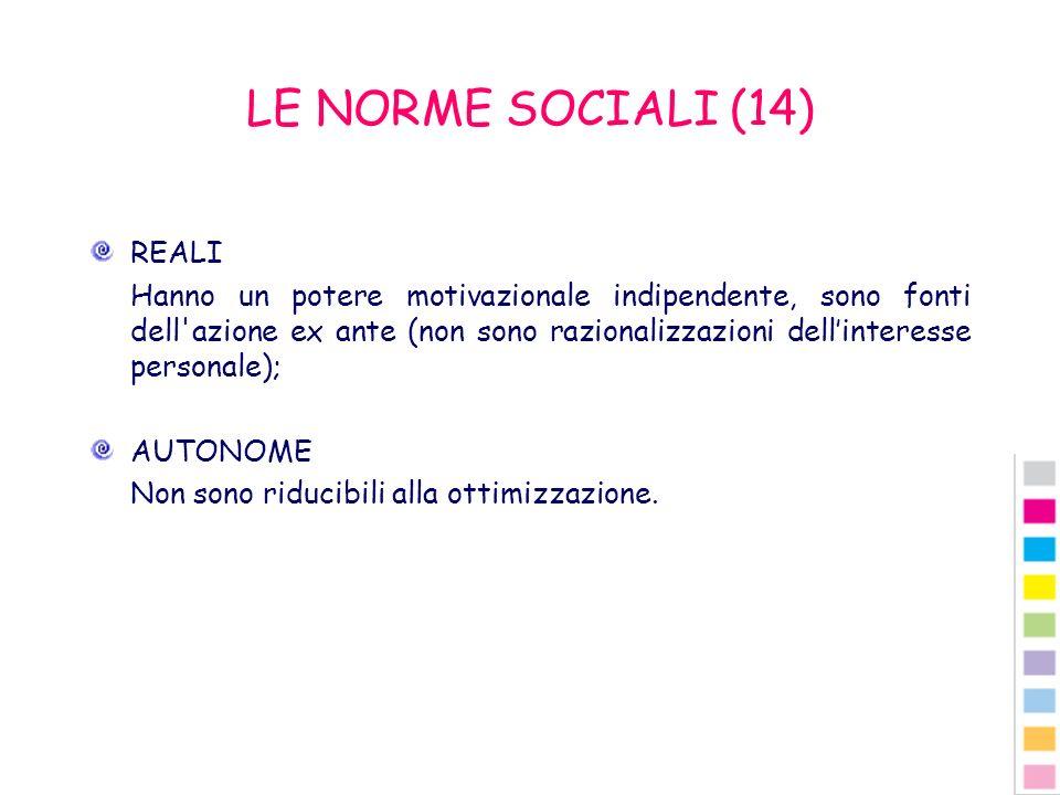 LE NORME SOCIALI (14) REALI Hanno un potere motivazionale indipendente, sono fonti dell'azione ex ante (non sono razionalizzazioni dellinteresse perso
