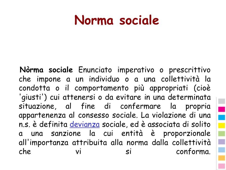 Norma sociale Nòrma sociale Enunciato imperativo o prescrittivo che impone a un individuo o a una collettività la condotta o il comportamento più appr