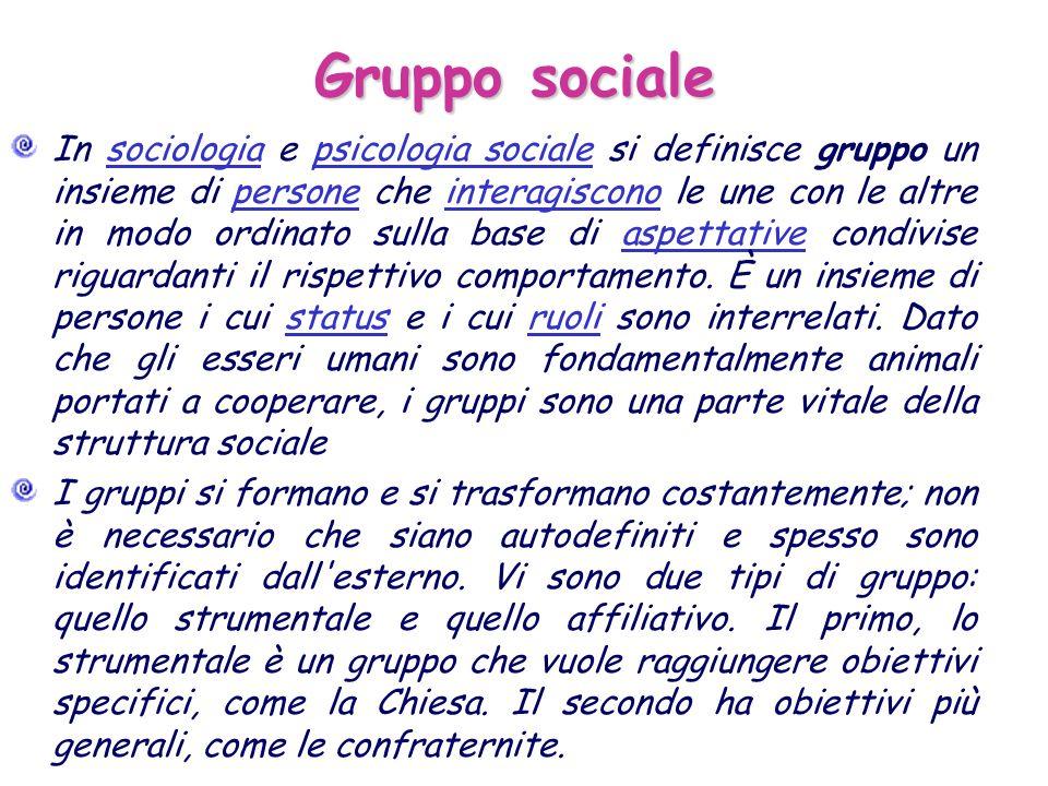Gruppo sociale In sociologia e psicologia sociale si definisce gruppo un insieme di persone che interagiscono le une con le altre in modo ordinato sul
