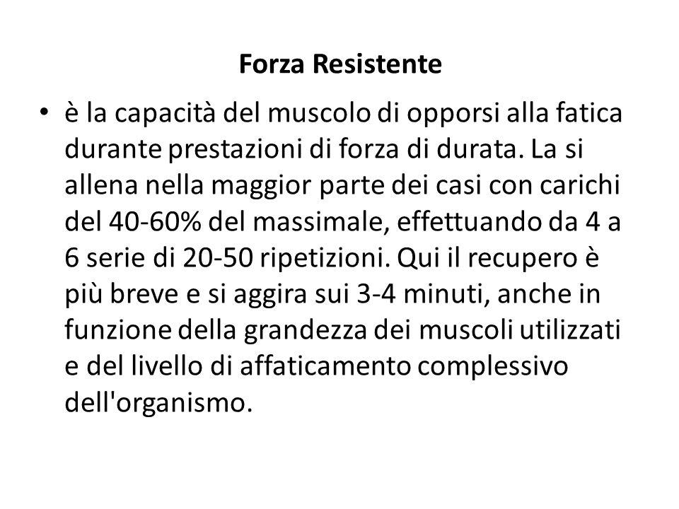 Forza Resistente è la capacità del muscolo di opporsi alla fatica durante prestazioni di forza di durata. La si allena nella maggior parte dei casi co