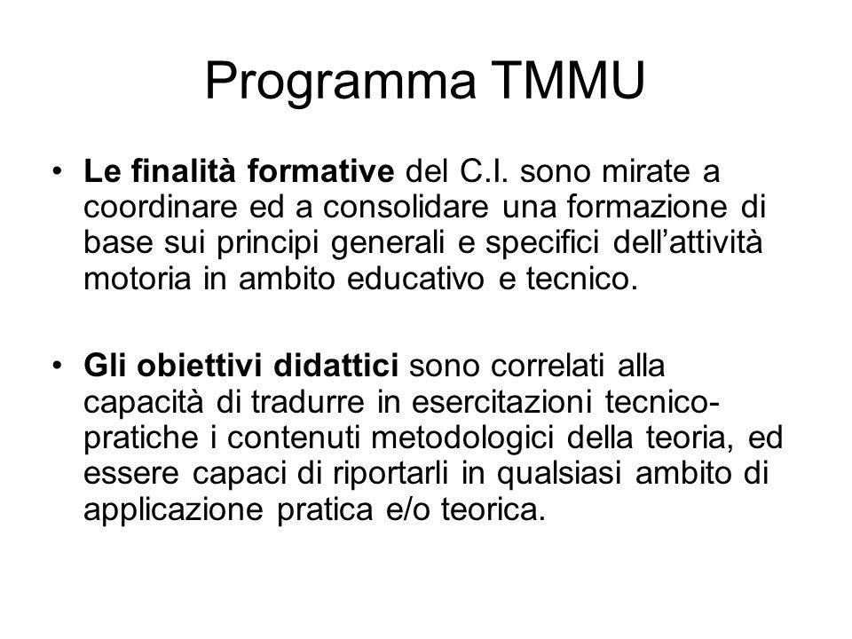 Programma TMMU Le finalità formative del C.I. sono mirate a coordinare ed a consolidare una formazione di base sui principi generali e specifici della