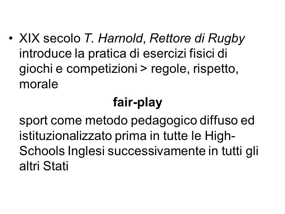 XIX secolo T. Harnold, Rettore di Rugby introduce la pratica di esercizi fisici di giochi e competizioni > regole, rispetto, morale fair-play sport co