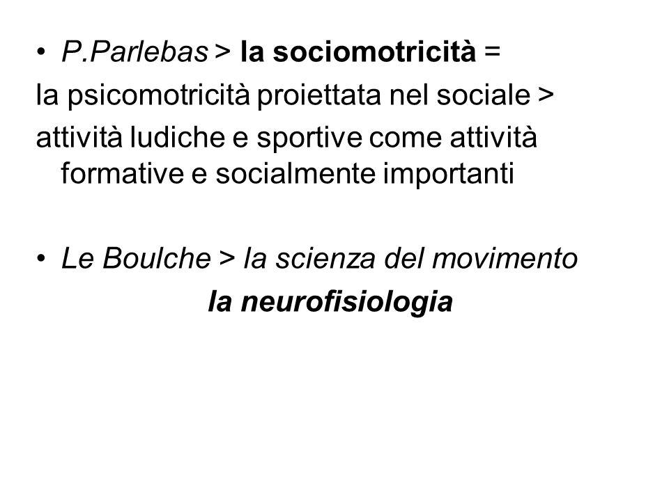 P.Parlebas > la sociomotricità = la psicomotricità proiettata nel sociale > attività ludiche e sportive come attività formative e socialmente importan