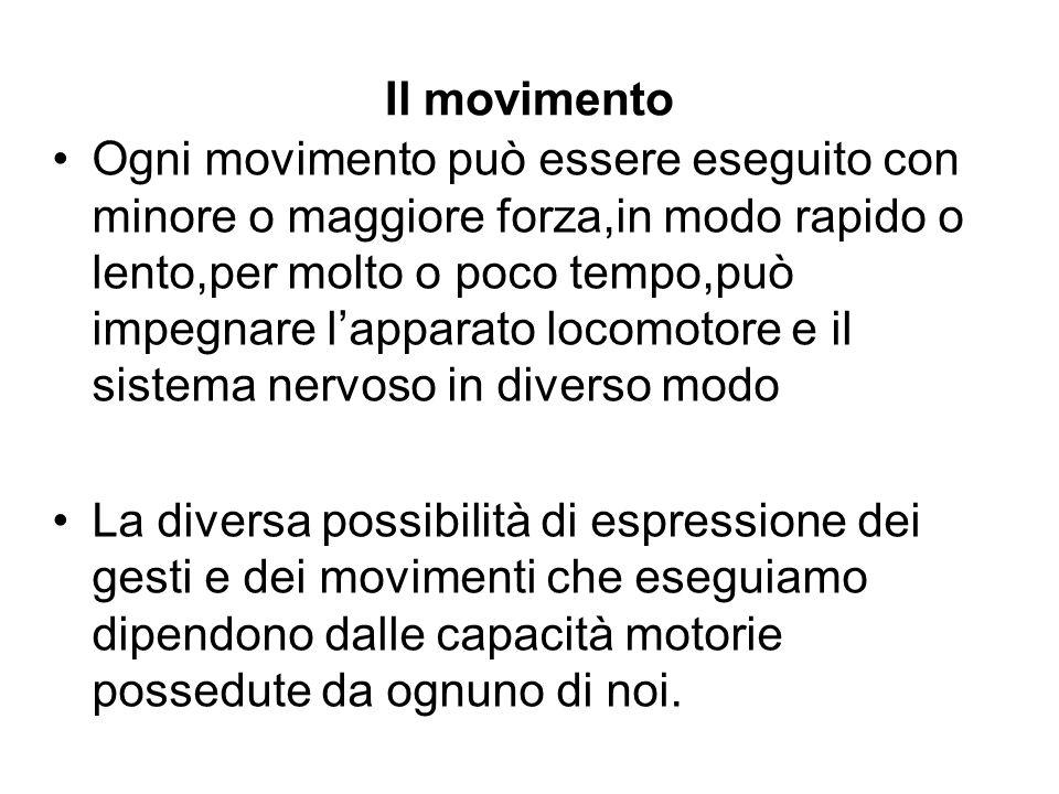 Il movimento Ogni movimento può essere eseguito con minore o maggiore forza,in modo rapido o lento,per molto o poco tempo,può impegnare lapparato loco