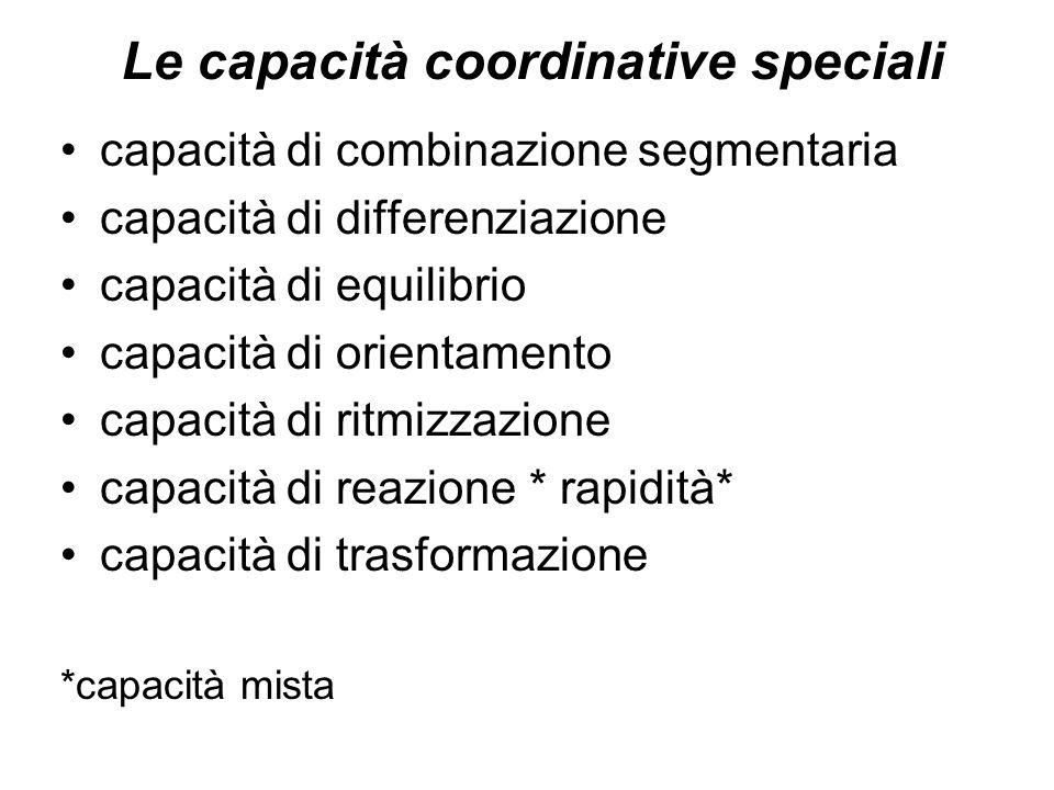 Le capacità coordinative speciali capacità di combinazione segmentaria capacità di differenziazione capacità di equilibrio capacità di orientamento ca
