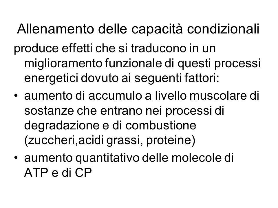 Allenamento delle capacità condizionali produce effetti che si traducono in un miglioramento funzionale di questi processi energetici dovuto ai seguen