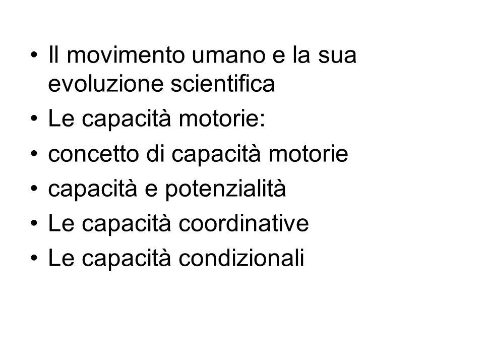 Il movimento umano e la sua evoluzione scientifica Le capacità motorie: concetto di capacità motorie capacità e potenzialità Le capacità coordinative