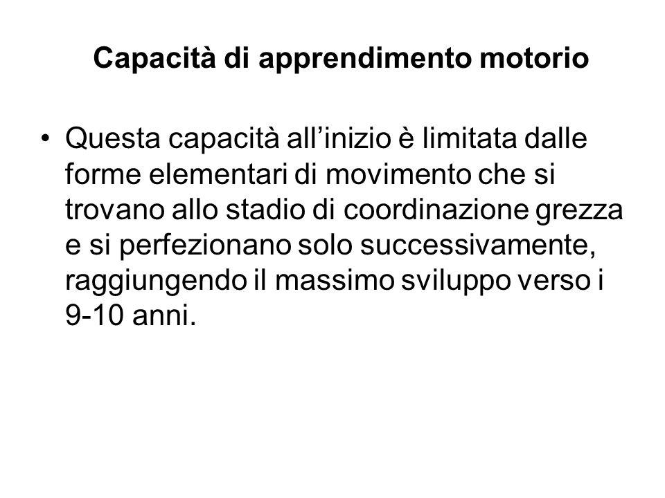 Capacità di apprendimento motorio Questa capacità allinizio è limitata dalle forme elementari di movimento che si trovano allo stadio di coordinazione