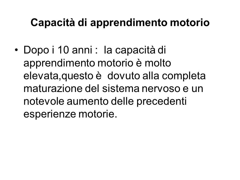 Capacità di apprendimento motorio Dopo i 10 anni : la capacità di apprendimento motorio è molto elevata,questo è dovuto alla completa maturazione del
